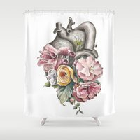 anatomy Shower Curtains featuring Floral Anatomy Heart by Trisha Thompson Adams
