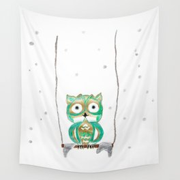 Owl Fun #1 #mint #green #gold #drawing #decor #art #society6 Wall Tapestry