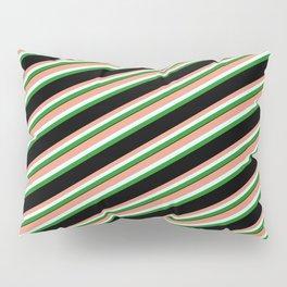 Dark Salmon, Light Cyan, Forest Green & Black Colored Striped Pattern Pillow Sham