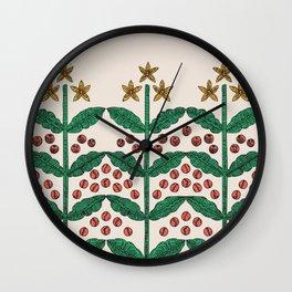 coffee Flowers pattern 1 Wall Clock