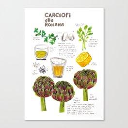illustrated recipes: carciofi alla romana Canvas Print