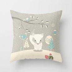 Christmas baby fox 07 Throw Pillow