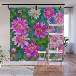 Pink Daisies Flower Party 2 by Jennifer Berdy Wall Mural