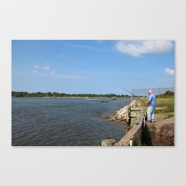 Fishing On Land Or By Boat Canvas Print