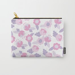 Hand painted pastel pink lavender modern floral Carry-All Pouch