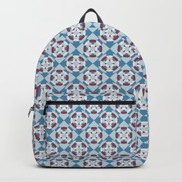 Simple geometric boat helm in blue and red Backpack