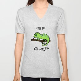 One In Cha-million Cute Chameleon Pun Unisex V-Neck