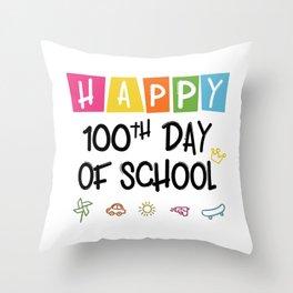 Happy 100th Day Of School Funny Emoji Throw Pillow