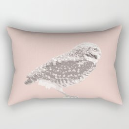 Burrowing Owl on Pale Dogwood Rectangular Pillow