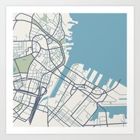 boston map Art Prints featuring Boston Map by Sophie Calhoun