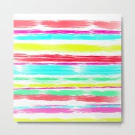 Modern neon brushstrokes stripes pattern Metal Print