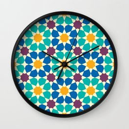Moroccan pattern, Morocco. Patchwork mosaic with traditional folk geometric ornament Wall Clock