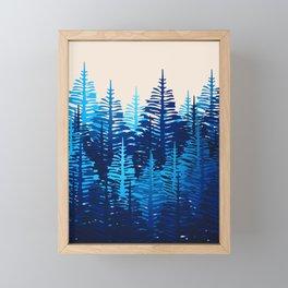 Pine Forest - Blue Light Framed Mini Art Print