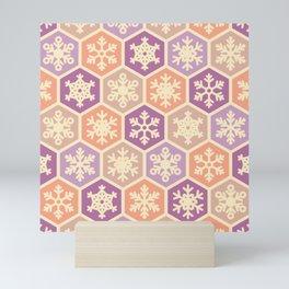 Peach Pink and Purple Christmas Nordic Snowflake Pattern Mini Art Print