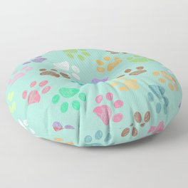 Doodle colorful paw candy colors pattern Floor Pillow