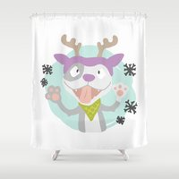 pit bull Shower Curtains featuring Pit Rudolf by PETRAYA