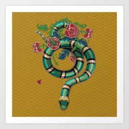 Snake Peonies Art Print