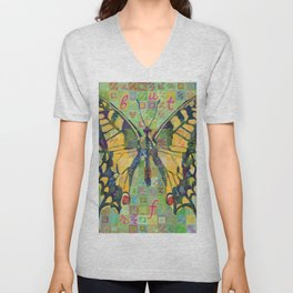 Butterfly (Swallowtail On Green) Unisex V-Neck