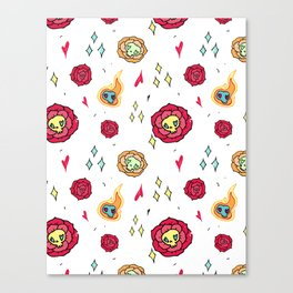 Roses with skulls Canvas Print