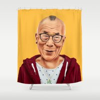 lama Shower Curtains featuring Hipstory -  Dalai Lama by Amit Shimoni