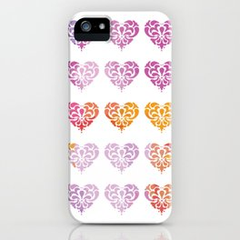 Rainbow Watercolor Damask Heart iPhone Case