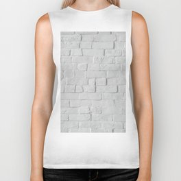 White Brick Wall (Black and White) Biker Tank