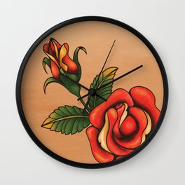 old school tattoo rose Wall Clock