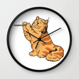 Transverse Flute Player Flutist Cat Kitten Gift Wall Clock