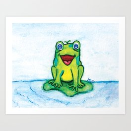 Happy Frog - Watercolor Art Print