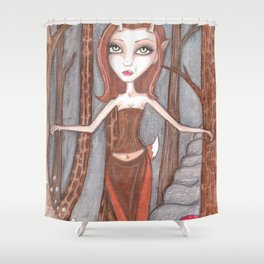 Red Deer fae Shower Curtain