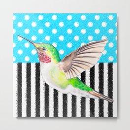 Artsy Hummingbird Blue Metal Print