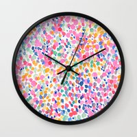 pastel Wall Clocks featuring Lighthearted (Pastel) by Jacqueline Maldonado