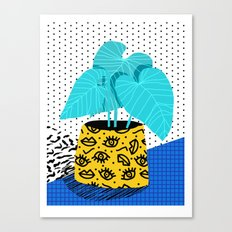 Totes magoats - memphis throwback retro house plant squiggle dot polka dot neon 1980s 80s style art Canvas Print
