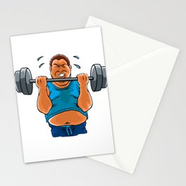 fat overweight man with dumbbell Stationery Cards