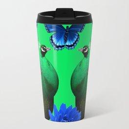 BLUE BUTTERFLIES & GREEN PEACOCKS FLORAL Travel Mug