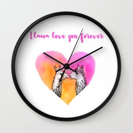 Llama love you forever Wall Clock