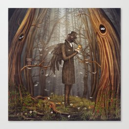 Raven in forest Canvas Print