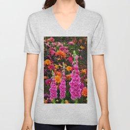DECORATIVE SPRING FLOWERS GARDEN ART Unisex V-Neck