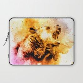 Watercolor Bear, Roaring Bear, Rustic Bear Art., Cabin Decor Laptop Sleeve