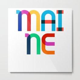 Maine State Mid Century, Pop Art Mondrian Metal Print
