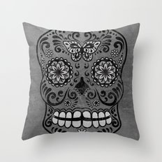 Dark gothic silver grey sugar skull Throw Pillow