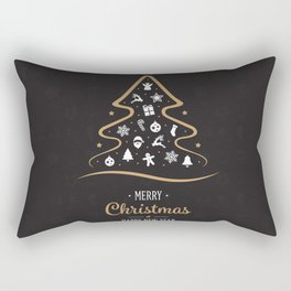 Vintage Black and Gold Christmas Tree Design. Rectangular Pillow