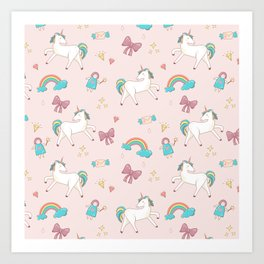 UNICORNS AND RAINBOWS Art Print