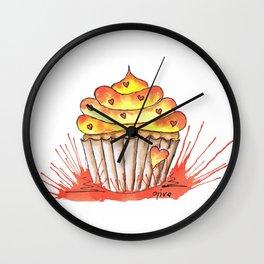 Little orange heart cupcake Wall Clock