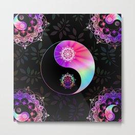 'Divine Balance' Yin Yang Black Pink Purple Blue Metal Print