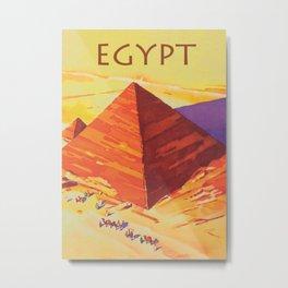 Egypt, Great Pyramids, Retro Vintage Travel Poster Metal Print