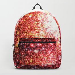 Sunset Pink Orange Red Galaxy Sparkle Backpack