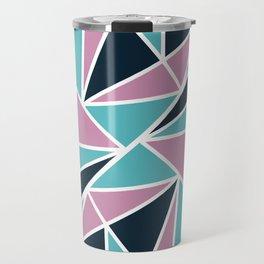 Modern Girly Pink Blue Geometric Triangles Pattern Travel Mug