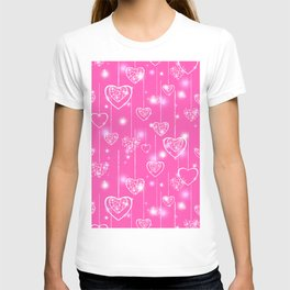 Openwork hearts on a bright pink background T-shirt