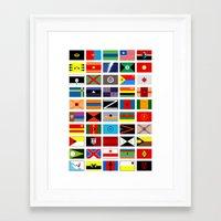 deathstroke Framed Art Prints featuring SH as flags by Fabian Gonzalez